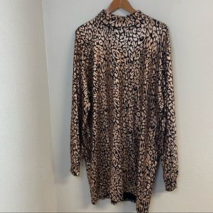 Boohoo cheetah print sequined l/s midi dress